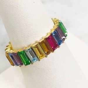 Rainbow Crystal Stackable Eternity Ring,NWT